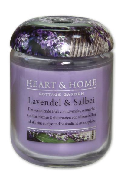 Heart & Home Duftkerze klein Lavendel & Salbei 110gr