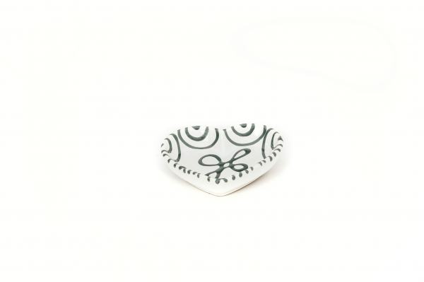Gmundner Keramik Graugeflammt Herzschale 10cm