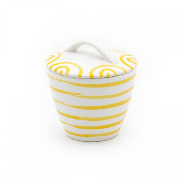 Gmundner Keramik Gelbgeflammt Zuckerdose Gourmet 9cm