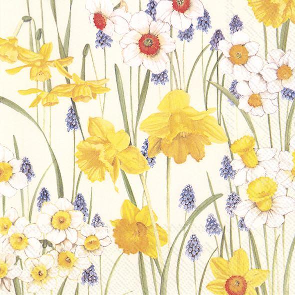 FLOWERS OF SPRING cream Cocktail-Servietten