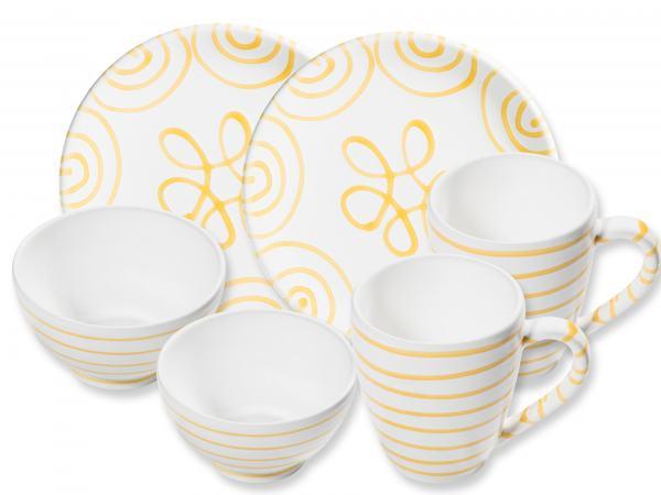 Gmundner Keramik Gelbgeflammt Hüttenfrühstück Cup für 2