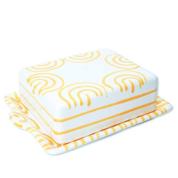 Gmundner Keramik Gelbgeflammt Butterdose 250g