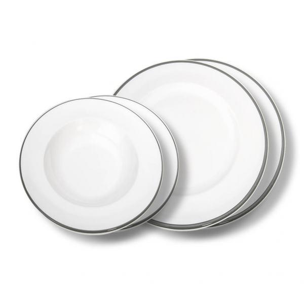 Gmundner Keramik Grauer Rand Dinner for two Gourmet