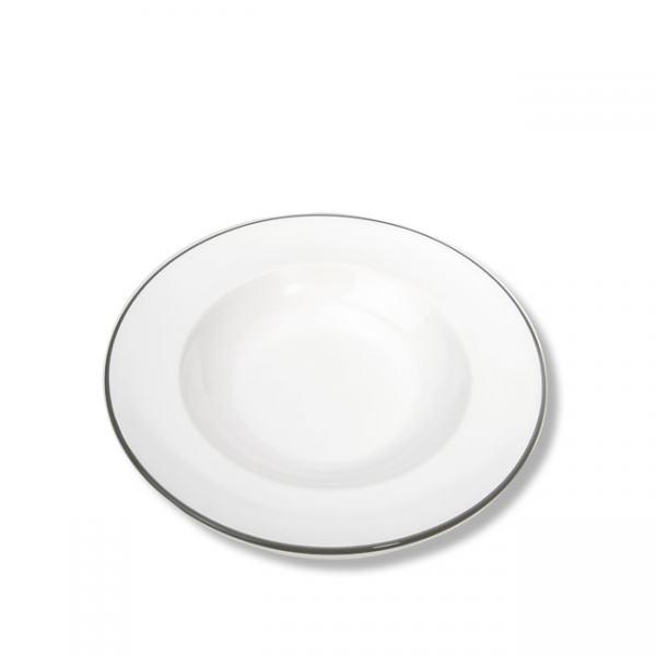 Gmundner Keramik Grauer Rand Suppenteller Gourmet 24cm