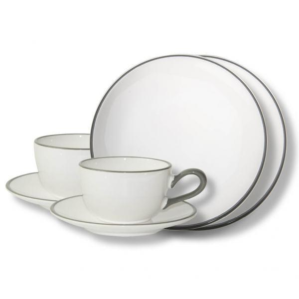 Gmundner Keramik Grauer Rand Breakfast for two Classic
