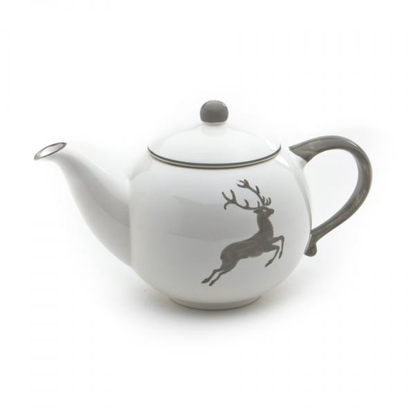 Gmundner Keramik Grauer Hirsch Teekanne glatt 1.5L