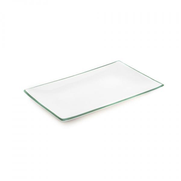Gmundner Keramik Grüner Rand Platte rechteckig 30x20cm