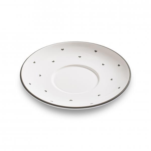 Gmundner Keramik Herzerl Grau Unterteller Teetasse Maxima Ø18cm