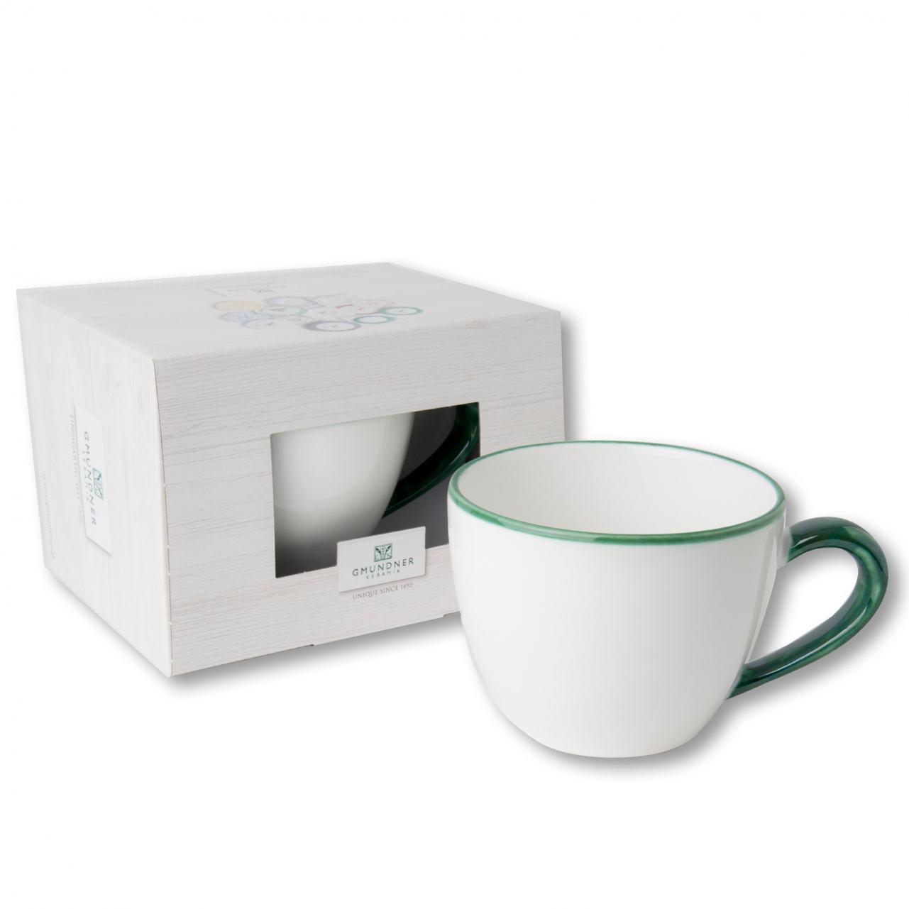 Gmundner Keramik Grüner Rand Teetasse Maxima 0.4 L im Karton