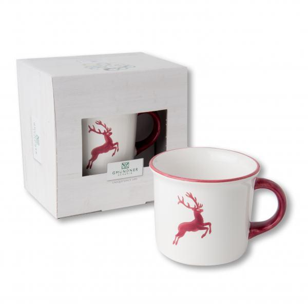 Gmundner Keramik Bordeauxroter Hirsch Kaffeehäferl 0.24 L