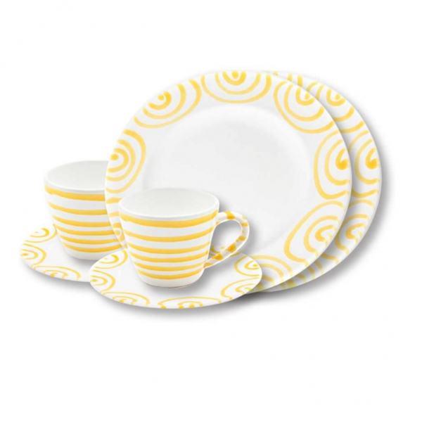 Gmundner Keramik Gelbgeflammt Breakfast for two Gourmet