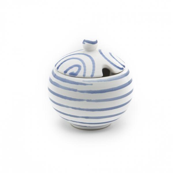 Gmundner Keramik Blaugeflammt Zuckerdose mit Ausschnitt (Ø 10cm)