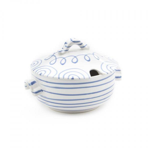 Gmundner Keramik Blaugeflammt Suppentopf glatt (2L)