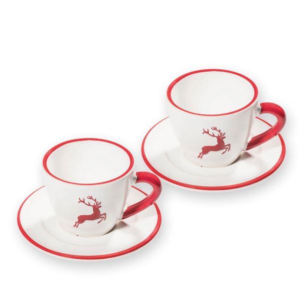 Gmundner Keramik Rubinroter Hirsch Espresso für 2 Gourm.