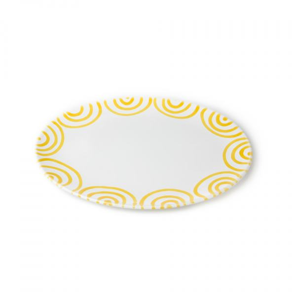 Gmundner Keramik Gelbgfelammt Platte oval 33x26cm