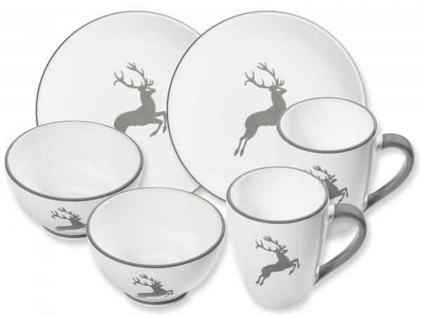 gmundner keramik grauer hirsch h ttenfr hst ck cup f r 2. Black Bedroom Furniture Sets. Home Design Ideas