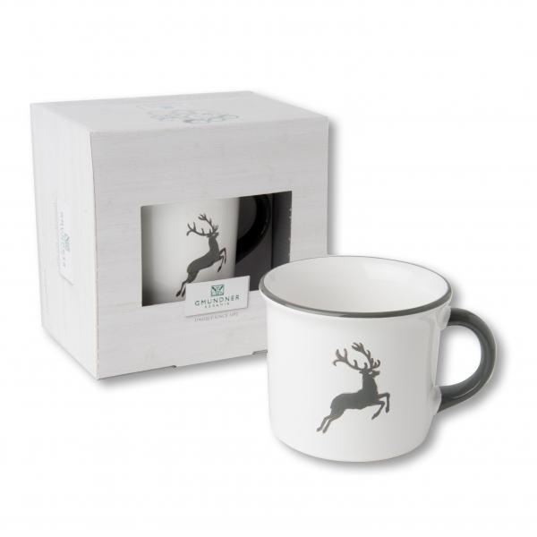 Gmundner Keramik grauer Hirsch KaffeeHaferl 0,24L