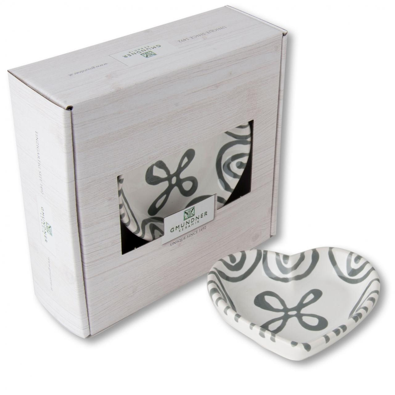 Gmundner Keramik Graugeflammt. Herzschale L: 10 cm