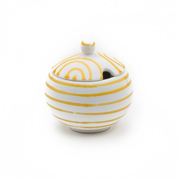 Gmundner Keramik Gelbgeflammt Zuckerdose mit Ausschnitt (Ø 10cm)
