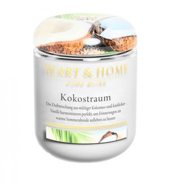Heart & Home Duftkerze klein Kokostraum 115gr