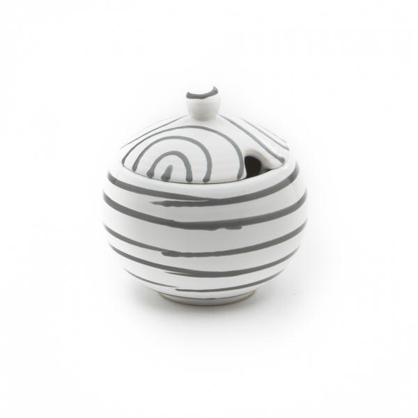Gmundner Keramik Graugeflammt Zuckerdose mit Ausschnitt (Ø 10cm)