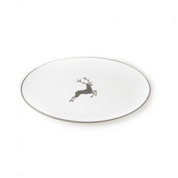 Gmundner Keramik Grauer Hirsch Platte Oval 33x26cm
