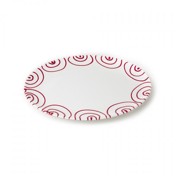 Gmundner Keramik Rotgeflammt Platte Oval 33x26cm